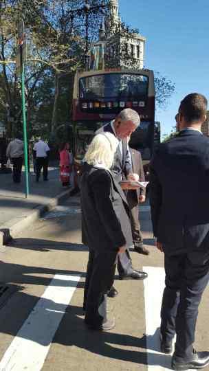 Rita Henley Jensen and Bill de Blasio on Park Row, Friday Oct 23, 2015.